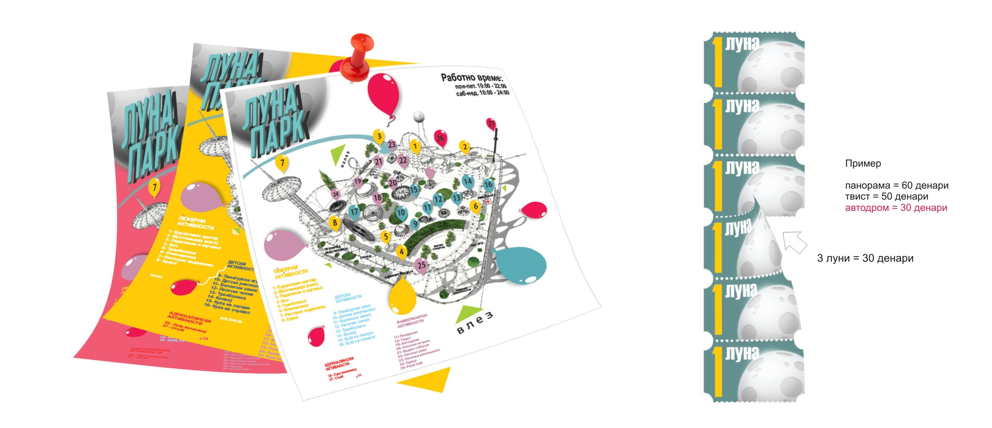 Победничко решение на конкурсот за Луна Парк_билети и флаери_Климент Патчев_Филип Конески_Марјан Димиќ_Борис Јурмовски_Борко Георгиев