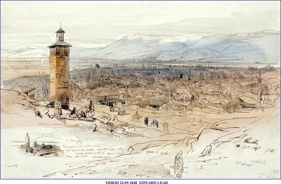 Ohrid pretstaven na crtez vo 1848 od edvard lir