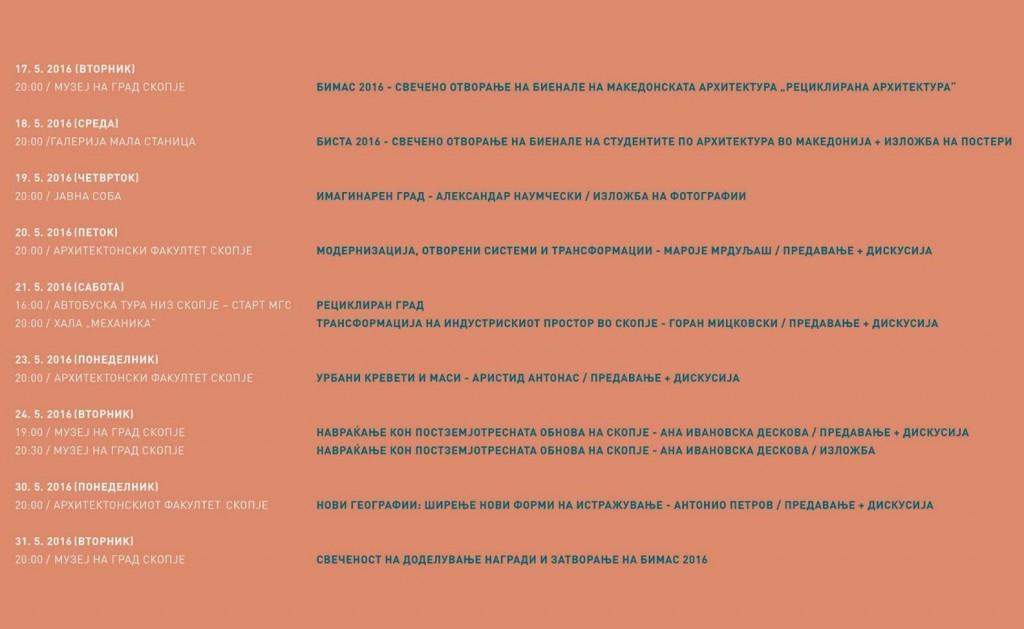 raspored na slucuvanja na Bimas 2016